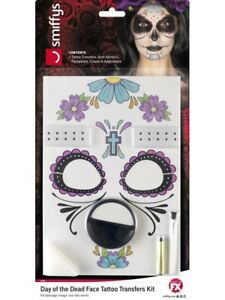 Halloween Fancy Dress Day of the Dead Tattoo Make Up Set Face Paint by Smiffys