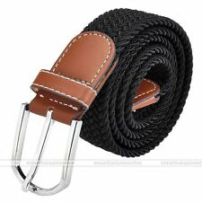 Army Style Pin Buckle Military Mens Sports Web Canvas Belt Leather Black