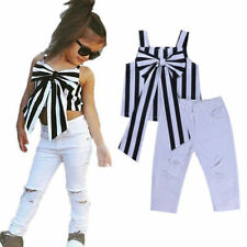 2pc Toddler Kids Baby Girls Outfit bowknot Tops+White Pants Summer Clothes Set