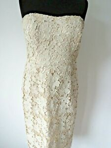 MONSOON Ladies Beautiful Ivory Beige Lace Overlay Occasion Dress Size 12