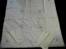 "Unused Vintage Dove Grey Embroidered Cream Tablecloth & Napkins 42""x 43"" Cot/Lin"