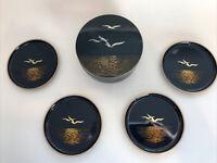 Otagiri Black Lacquer Bird Drink Coasters Set 4 Box Black With Gold VTG Barware