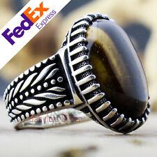 Natural Tiger's eye Stone 925 Sterling Silver Turkish Men Ring 9 US Free Resize