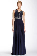 * NWT, Rebecca Taylor Sleeveless Embellished Bodice Silk Gown Navy 0 $795