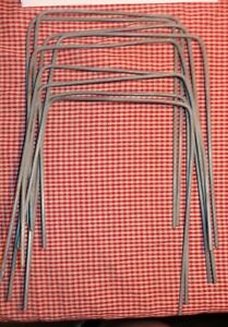 """9 VINTAGE GALVANIZED METAL CROQUET GAME WICKETS HOOPS SQUARE TOPS 9"""" TALL 6"""" W"""