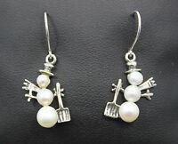 Sterling Silver Pearl Snowman Dangle Earrings