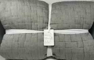 Pottery Barn Bliss Handcrafted Cotton KING Quilt ~ Flagstone Gray