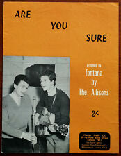 More details for the allisons are you sure by bob & john allison marlyn music co. – pub. 1961