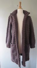 Vtg ESCADA By SRB BROWN CHUNKY KNIT OPEN front mohair wool CARDIGAN sz 38