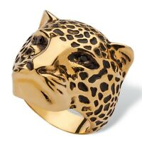 Black Pave Crystal Leopard Fashion Ring 14k Yellow Gold-Plated