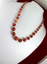 Faceted Botswana Agate- Carnelian Beaded Necklace Jewelry F-538-12