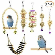 New listing 7Packs Wooden Canary Parrot Swing Chewing Toys - Handmade Hanging Bell Birds C