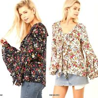 Umgee Top Size XL S M L Lace Up Floral Long Bell Sleeve Tunic Womens Shirt New