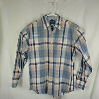 Wrangler Mens Large Blue Plaid Pearl Snap Button Front Shirt Western L/S