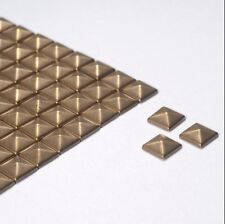 100 6mm Bronze Plain Square Shape Metallic Rhinestuds Hotfix/Iron On or Glue On