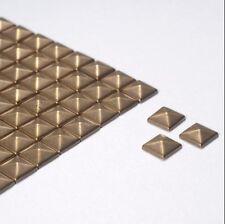100 6mm Bronze Plain Square Shape Metallic Rhinestuds Hotfix/Iron On or Glue On