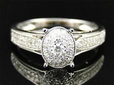 14K Womens White Gold Genuine Real Diamond Oval Engagement Wedding Promise Ring