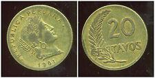 PEROU  20 centavos  1961