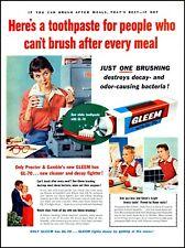 1954 School teacher students Gleem toothpaste brush vintage photo print ad adl89