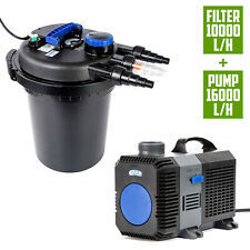 Aquarium External Canister UV Pond Filter + Submersible Water Pump 16000L/H KIT