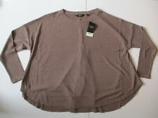 NEXT LADIES LONG SLEEVE  PINK BROWN GLITTER OVERSIZED TOP SIZE 16/44