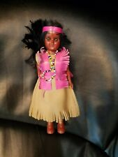 "All Plastic/Vinyl Indian DOLL & Dress Girl & Stand 7.5"""