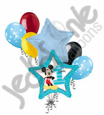 7 pc Mickey Mouse 1st Birthday Balloon Bouquet Party Decoration Blue Disney Boy