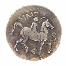 Riproduzione metallo COPIA moneta antica FILIPPO II Re Macedonia 323 aC cavallo