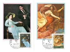 ITALIA REP. - 1975 - Arte italiana(2) su due cartoline maximum