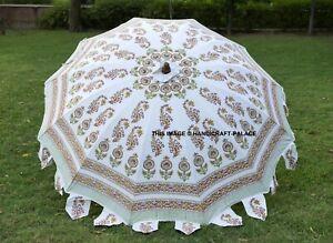 Indien Jardin Parapluie Coton Main Bloc Imprimé Extérieur Parasol Grand 203cm