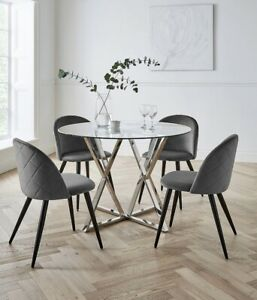 Round Glass Table and 4 Soft Grey Velvet Chairs Dining Kitchen Furniture Set