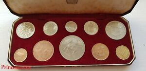 1953 GB QUEEN ELIZABETH II CORONATION PROOF 10 COINS SET IN RED CASE