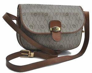 Auth Christian Dior Honeycomb Shoulder Cross Body Bag PVC Leather Beige E3582