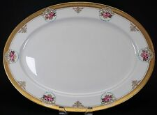 """Antique Hand Painted Roses Turquoise Raised Gold 16 3/4"""" Platter - Gorgeous!"""