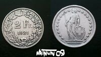 SWITZERLAND / 2 FRANCS - 1921 / SILVER COIN