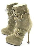 Auth. Brian Atwood Niki Military Green Suede High Ankle Boots Buckles, 36.5, 6.5