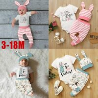 Infant Baby Boys Girls Easter Buuny Printed Romper Bodysuit+Pants+Hats Outfits