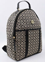 TOMMY HILFIGER Women's Monogram Fabric Backpack, Black/Natural