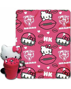 """Hello Kitty Plush Hugger Chicago Bears NFL Throw Blanket Set 40""""x50"""""""