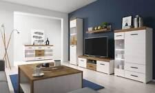 Living room furniture set Tv  glass unit display cabinet shelves wood effect