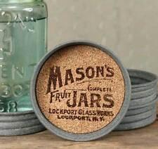 Primitive/Cottage/Country Mason Jar Logo Lid Drink Coaster – Set of 4