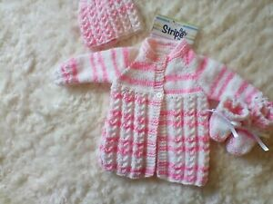 Hand Knitted Pink Baby Set: Matinee Coat, matching Hat & Bootees size 0 - 3 mth