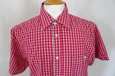 "WRANGLER  Short-Sleeve SHIRT Cotton  Red/White Check  Size M / 15.5""       282 Y"