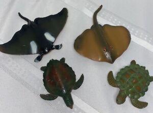 Lot 4 Vtg 1994 Ocean Animals Toy  Figures Sea Creatures Devil Fish Manta Ray
