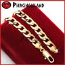 9K GOLD FILLED MENS WOMENS PLAIN FLAT CURB RING CHAIN SOLID BANGLE BRACELET GIFT