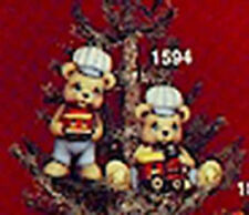 "Teddy Bear w/ Train Ornaments 3"" set of 2 Ceramic Bisque U Paint  FREE SHIPPING"