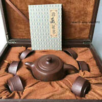 Marked Old Chinese Yixing Zisha Pottery Carved Tea cup Teapot Kettle APC
