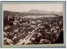 Suisse, Luzern, Panorama  Vintage albumen print.  Tirage albuminé  11x16