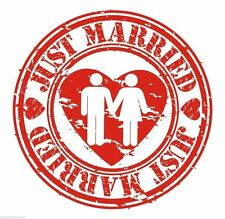 Just Married Newlyweds Round logo Circle Sticker Decal Graphic Vinyl Label