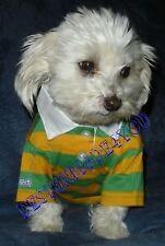 NEW  Pet Dog Puppy Clothes POLO CottonT-Shirt  Suit sz XS orange/green